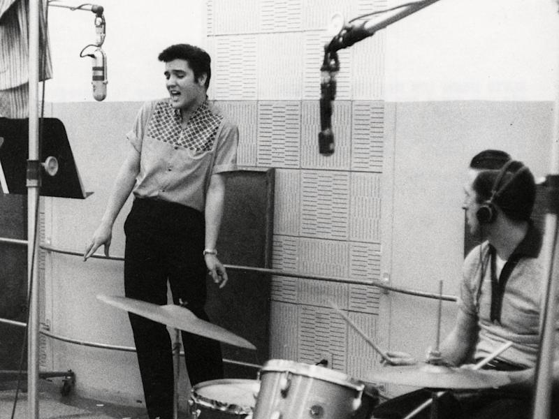 Fontana (right) with Presley recording 'Jailhouse Rock' at Radio Recorders, Hollywood, California, in May 1957: Rex