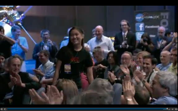 Clara Ma, who provided the winning name of Curiosity for the Mars Science Laboratory rover, is acknowledged at the JPL press conference following the successful landing on Mars, August 5, 2012.