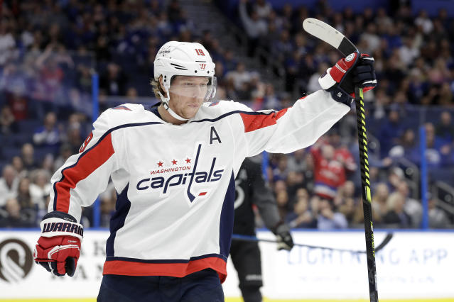 Washington Capitals center Nicklas Backstrom (19) celebrates his goal against the Tampa Bay Lightning during the first period of an NHL hockey game Saturday, Dec. 14, 2019, in Tampa, Fla. (AP Photo/Chris O'Meara)