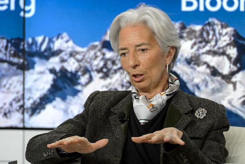 Managing director of the International Monetary Fund Christine Lagarde speaks during a session of the World Economic Forum on January 22, 2015 in Davos