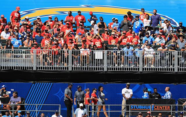 Chargers fans have been outnumbered at StubHub Center, including when the Kansas City Chiefs came to town on Sept. 24. (Getty)