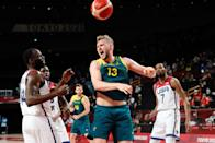 <p>Jock Landale of Team Australia calls out during the Men's Basketball Semifinal match between USA and Australia on Day 13 of the Tokyo 2020 Olympic Games at Saitama Super Arena on August 05, 2021 in Tokyo, Japan. (Photo by Pete Dovgan/Speed Media/Icon Sportswire via Getty Images)</p>
