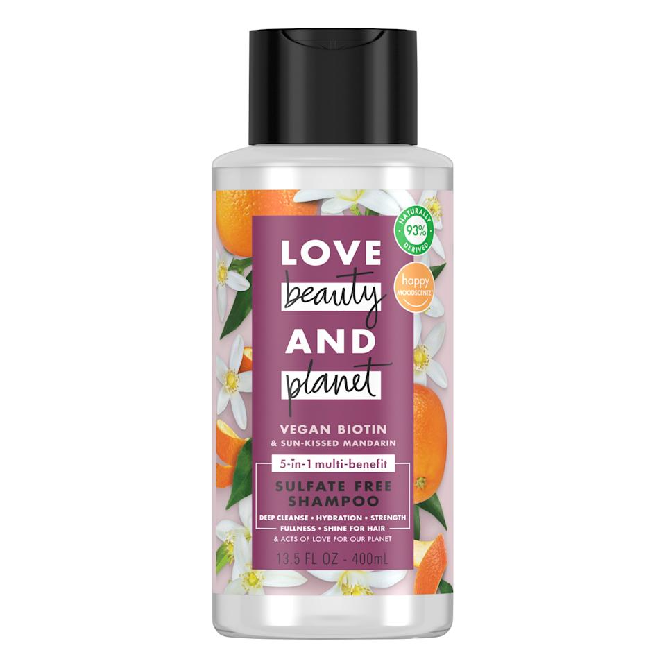 "<h2>Love Beauty and Planet Vegan Biotin & Sun Kissed Mandarin Shampoo</h2><br>We can't decide what we love more — how soft and shiny (never dry or wiry) our hair feels after using this shampoo, or the uplifting citrus scent that lingers through our shower, making the day ten times more enjoyable. It's also 100% vegan and made of recyclable materials — a good option if you're looking for more guilt-free wash-day products. <br><br><strong>Love Beauty and Planet</strong> Vegan Biotin & Sun Kissed Mandarin Shampoo, $, available at <a href=""https://go.skimresources.com/?id=30283X879131&url=https%3A%2F%2Fwww.target.com%2Fp%2Flove-beauty-and-planet-vegan-biotin-38-sun-kissed-mandarin-shampoo-13-5-fl-oz%2F-%2FA-80135471"" rel=""nofollow noopener"" target=""_blank"" data-ylk=""slk:Target"" class=""link rapid-noclick-resp"">Target</a>"