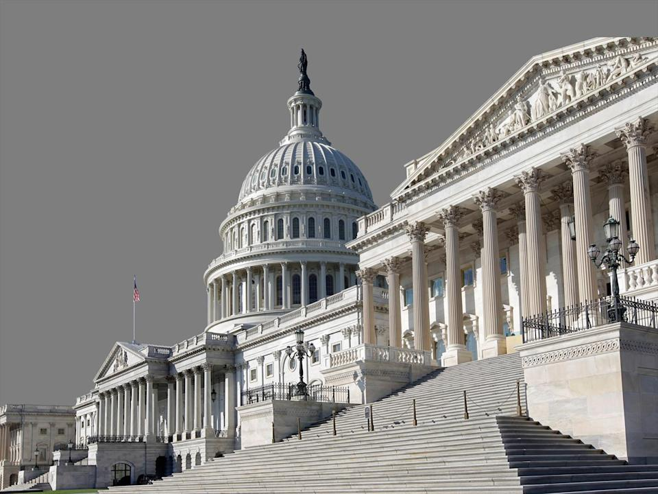 US Capitol building from Senate side (r), Washington, DC, graphic element on gray
