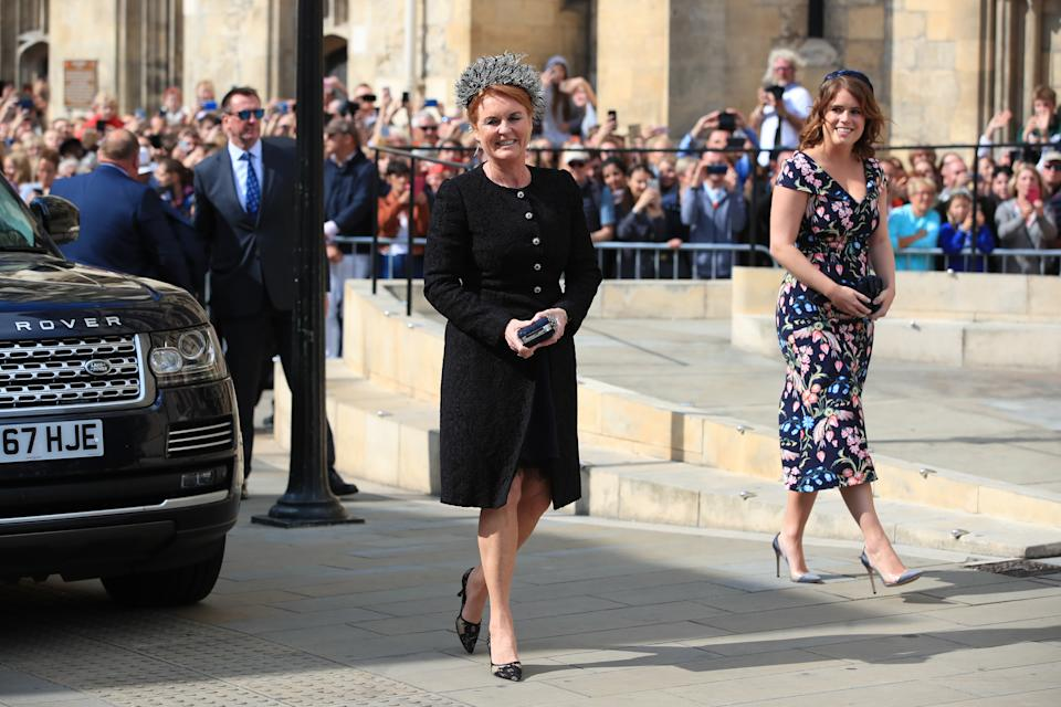 The Duchess of York and Princess Eugenie arrive at York Minster for the wedding of singer Ellie Goulding to Caspar [Photo: PA]