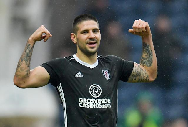 "Soccer Football - Championship - Preston North End vs Fulham - Deepdale, Preston, Britain - March 10, 2018 Fulham's Aleksandar Mitrovic celebrates scoring their second goal Action Images/Paul Burrows EDITORIAL USE ONLY. No use with unauthorized audio, video, data, fixture lists, club/league logos or ""live"" services. Online in-match use limited to 75 images, no video emulation. No use in betting, games or single club/league/player publications. Please contact your account representative for further details."