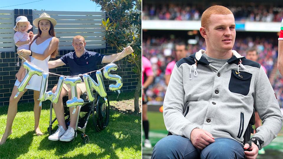 Seen here, Alex McKinnon and his family celebrate the news they will be welcoming twins in 2021.