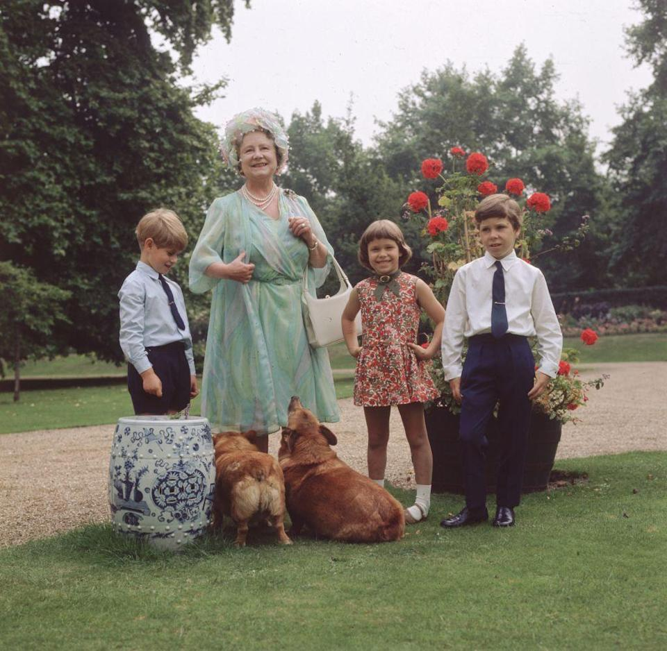 <p>The Queen Mother was surrounded by her three youngest grandchildren in 1970 for her 70th birthday celebrations. </p>