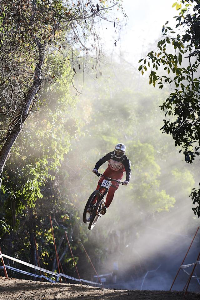 CAIRNS, AUSTRALIA - SEPTEMBER 07: Charlie Harrison of the USA rides in a downhill practice session during the 2017 Mountain Bike World Championships on September 7, 2017 in Cairns, Australia. (Photo by Brett Hemmings/Getty Images)