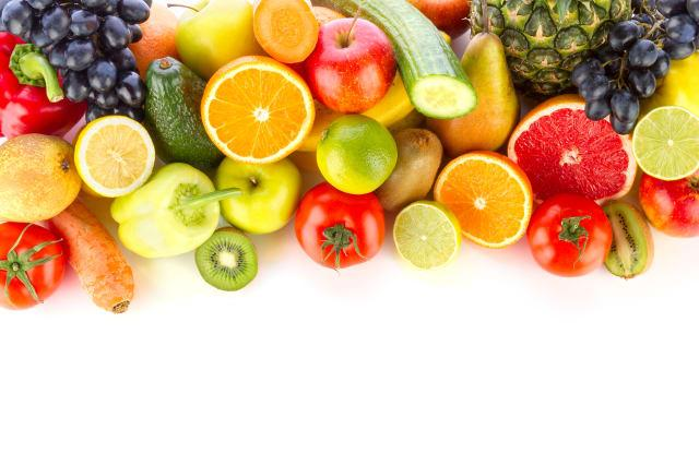 High Angle View Of Various Fruits And Vegetables On White Background