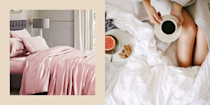 """<p class=""""body-dropcap"""">When you hear the words <em>silk comforter</em>, adjectives like <em>lavish, extra, bougie</em>, and <em>expensive</em> probably come to mind. I hear ya! That's what I used to think until I found out that silk <a href=""""https://www.cosmopolitan.com/lifestyle/g31275980/best-bed-sheets-to-buy/"""" rel=""""nofollow noopener"""" target=""""_blank"""" data-ylk=""""slk:bedding"""" class=""""link rapid-noclick-resp"""">bedding</a> is actually...really freakin' <a href=""""https://www.cosmopolitan.com/style-beauty/beauty/g27047247/best-silk-pillowcase/"""" rel=""""nofollow noopener"""" target=""""_blank"""" data-ylk=""""slk:good for you"""" class=""""link rapid-noclick-resp"""">good for you</a>. Not only is it comfortable as heck, but your hair and skin will benefit from it A TON. <del><br><br></del>How so? Silk's super smooth texture has very little friction and doesn't absorb moisture, which means you won't have to deal with dehydrated tresses and rough, patchy skin as a result of other less moisture-wicking fabrics (looking at you, cotton fibers!). And if you tend to perspire while you sleep—which is a totally normal thing that happens—silk naturally regulates body temperature, so you won't ever feel too hot or too cold while you're catchin' those Z's. (I know you night sweaters are getting giddy RN.)<br><br>Yup, so, this is your cue to go right along and shop the best silk comforters, below, because I know I've got ya convinced. And if you wanna give yourself some options, take a gander at some <a href=""""https://www.cosmopolitan.com/lifestyle/g31144426/best-down-comforter/"""" rel=""""nofollow noopener"""" target=""""_blank"""" data-ylk=""""slk:down"""" class=""""link rapid-noclick-resp"""">down</a> and <a href=""""https://www.cosmopolitan.com/lifestyle/g33338019/best-cooling-comforters-for-hot-sleepers/"""" rel=""""nofollow noopener"""" target=""""_blank"""" data-ylk=""""slk:cooling comforters"""" class=""""link rapid-noclick-resp"""">cooling comforters</a> we've gathered, too!</p>"""