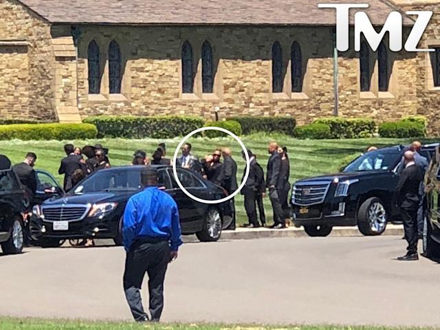 Janet Jackson, circled in white, attends her father's funeral. (Photo: TMZ)
