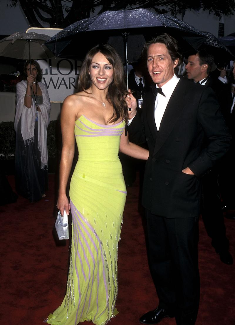 Actress Elizabeth Hurley and actor Hugh Grant attend the 57th Annual Golden Globe Awards on January 23, 2000 at Beverly Hilton Hotel in Beverly Hills, California. (Photo by Ron Galella, Ltd./Ron Galella Collection via Getty Images)
