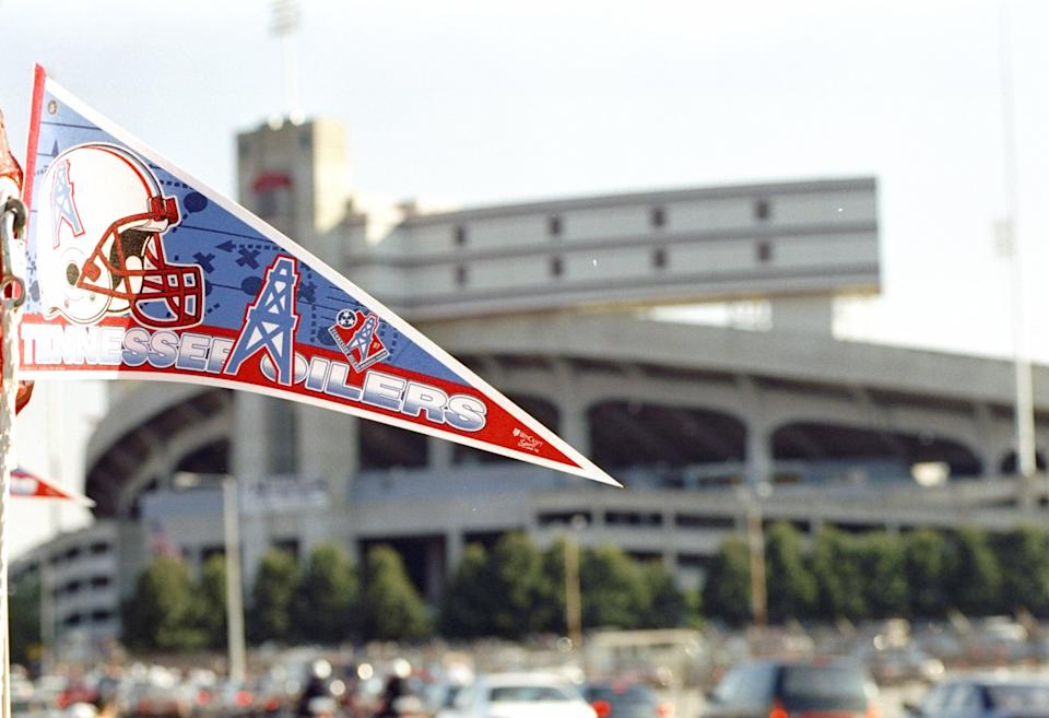 Two rarities: A Tennessee Oilers pennant and an NFL game in Memphis. (Getty)