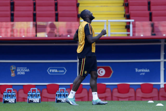 Belgium's Romelu Lukaku warms up during Belgium's official training ahead of the group G match between Belgium and Tunisia at the 2018 soccer World Cup in the Spartak Stadium in Moscow, Russia, Friday, June 22, 2018. (AP Photo/Hassan Ammar)