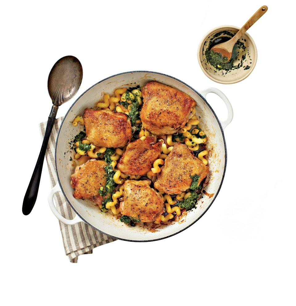 """<p><strong>Recipe: <a href=""""https://www.southernliving.com/syndication/chicken-thighs-pasta-pesto"""" rel=""""nofollow noopener"""" target=""""_blank"""" data-ylk=""""slk:Crispy Chicken Thighs with Pasta and Pesto"""" class=""""link rapid-noclick-resp"""">Crispy Chicken Thighs with Pasta and Pesto</a></strong><a href=""""https://www.southernliving.com/syndication/chicken-thighs-pasta-pesto"""" rel=""""nofollow noopener"""" target=""""_blank"""" data-ylk=""""slk:"""" class=""""link rapid-noclick-resp""""><br></a></p> <p>Don't go for the jarred stuff: If you have a food processor, making your own pesto is so incredibly easy, and the fresh taste shines through in this recipe.</p>"""