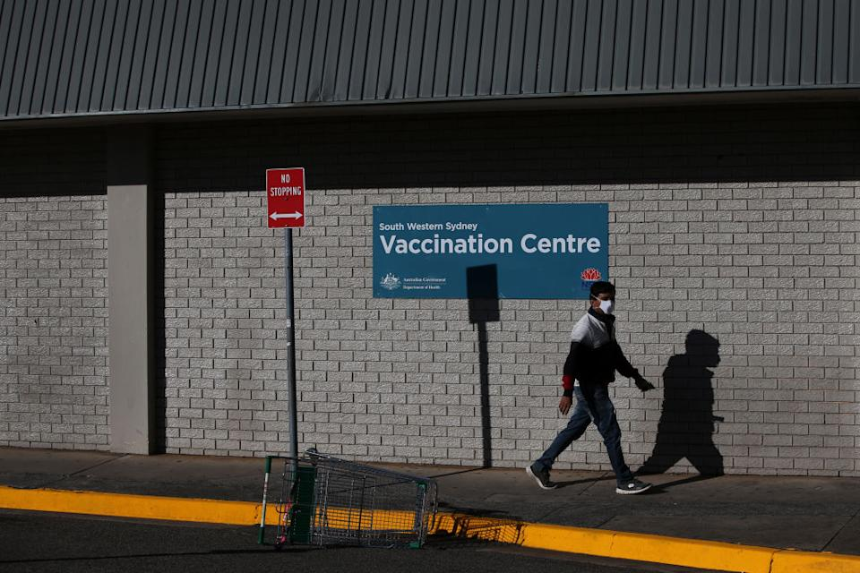 A client arrives at the newly opened South Western Sydney Vaccination Centre at Macquarie Fields in Sydney, Australia.