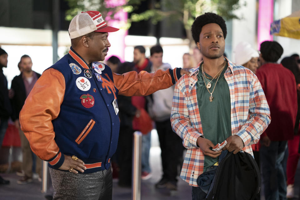 Akeem Joffer (Eddie Murphy) meets his his son, Lavelle Junso (Jermaine Fowler) in Coming 2 America