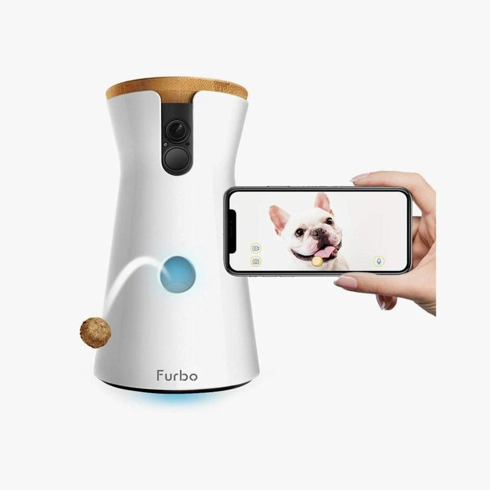 "Here's a smart camera that helps you keep an eye out on your pet when you aren't at home and reward him with a treat. $249, AMAZON. <a href=""https://www.amazon.com/Furbo-Dog-Camera-Designed-Compatible/dp/B01FXC7JWQ/"" rel=""nofollow noopener"" target=""_blank"" data-ylk=""slk:Get it now!"" class=""link rapid-noclick-resp"">Get it now!</a>"
