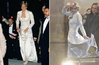 <p>For a night out in New York City, Princess Diana sported a white gown in a sea of black.</p>