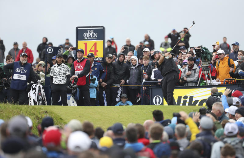 Ireland's Shane Lowry tees off the 14th hole during the final round of the British Open Golf Championships at Royal Portrush in Northern Ireland, Sunday, July 21, 2019.(AP Photo/Peter Morrison)