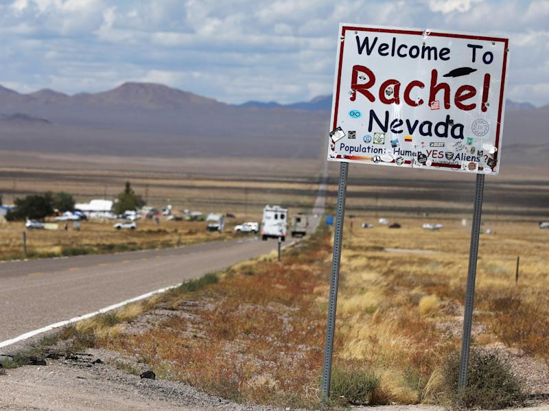 Traffic on Highway 375 as an influx of tourists responding to a call to 'storm' Area 51, a secretive U.S. military base believed by UFO enthusiasts to hold government secrets about extra-terrestrials, is expected in Rachel, Nevada, Sept. 19, 2019. (Photo: Jim Urquhart/Reuters)