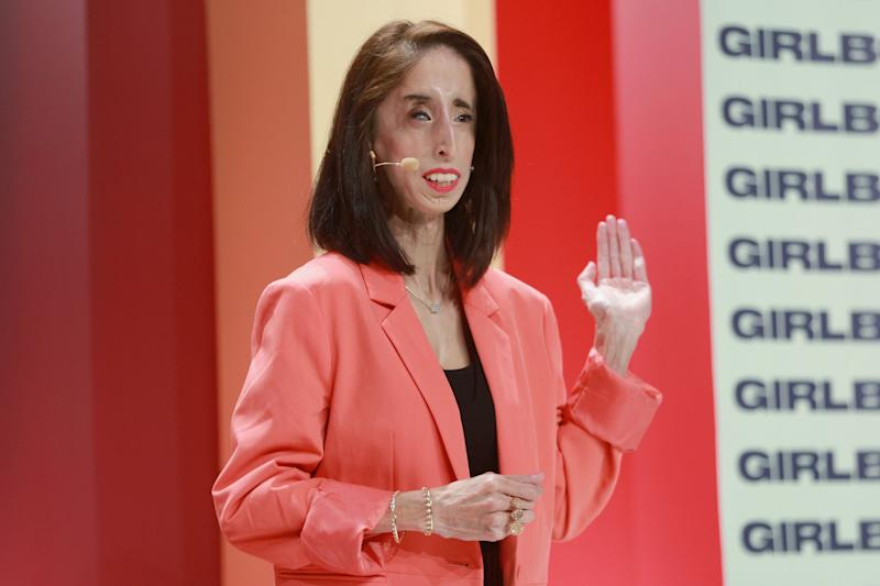Advocate Lizzie Velasquez speaks on stage at the 2018 Girlboss Rally at Magic Box on April 28, 2018. (Photo: Rich Fury via Getty Images)