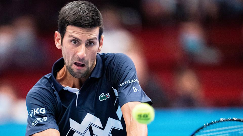 Pictured here, Novak Djokovic in action during the ATP event in Vienna.