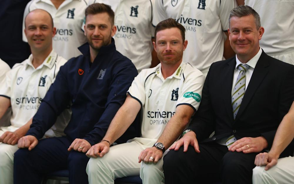 Jonathan Trott (L) Jim Troughton (2L) the Director of Cricket, Ian Bell (2R) captain and Ashley Giles (R) the Sport Director during the Warwickshire County Cricket photocall - Credit: Getty