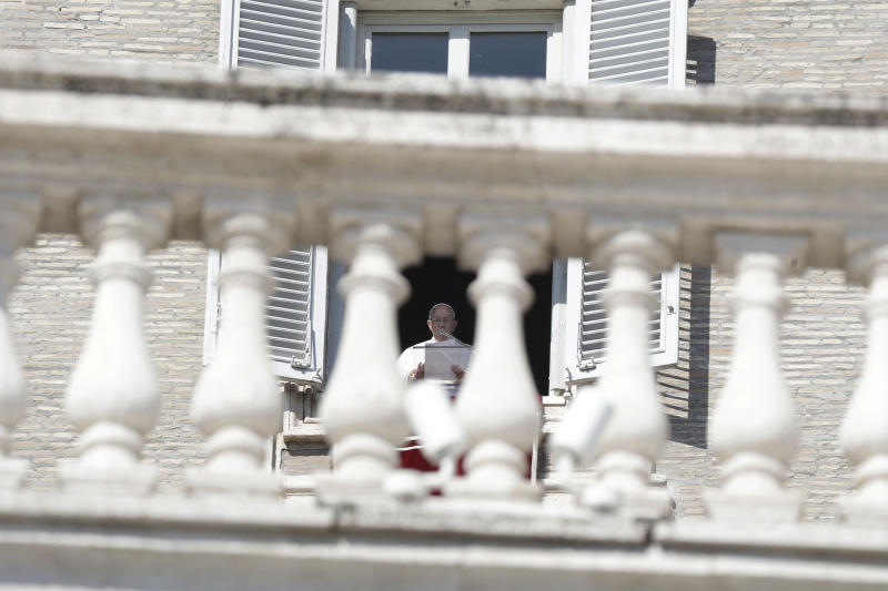 """Pope Francis delivers his message during the Angelus noon prayer in St. Peter's Square at the Vatican, Sunday, Feb. 17, 2019. The pontiff is asking for prayers for this week's sex abuse summit at the Vatican, calling abuse an """"urgent challenge of our time."""" (AP Photo/Gregorio Borgia)"""