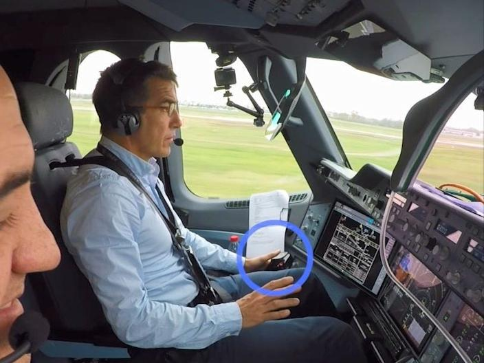 An Airbus A350-1000 XWB cockpit during the first successful autonomous take-off test.
