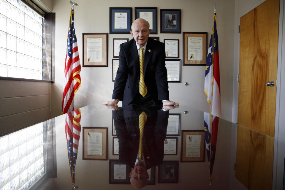 Alamance County Sheriff Terry Johnson poses for a portrait in his office in Graham, N.C., Thursday, March 12, 2020. (AP Photo/Jacquelyn Martin)