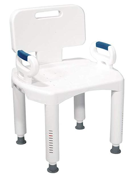 drive medical shower chair with arm rest white and blue