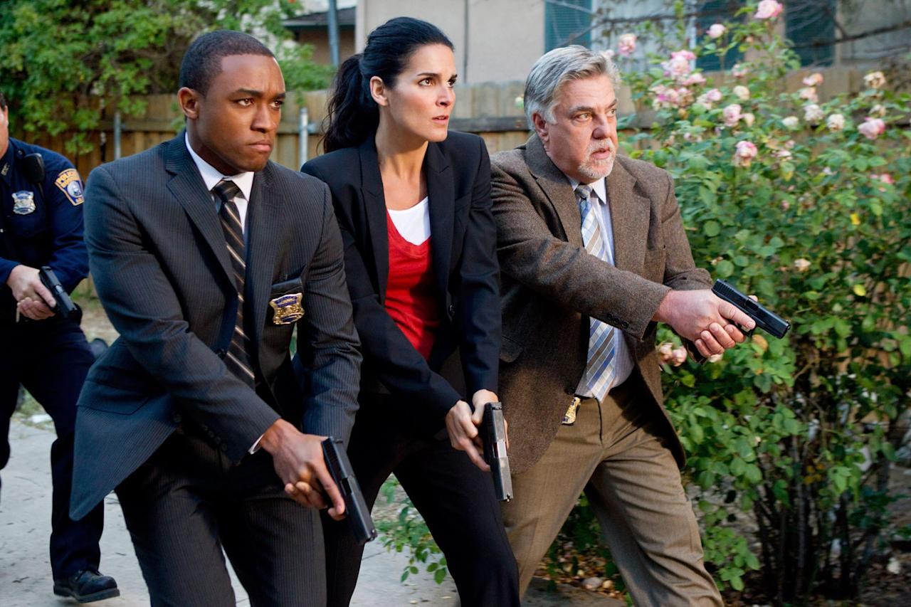 "Lee Thompson Young, Angie Harmon, and Bruce McGill in the ""Rizzoli & Isles"" episode, ""Brown Eyed Girl."""