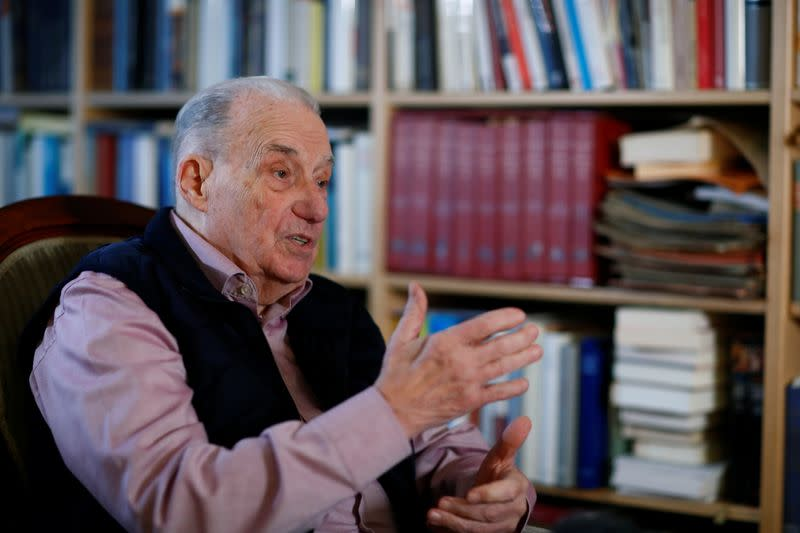 Gerhard Wiese, former chief prosecutor of the Frankfurt Auschwitz trial attends an interview with Reuters in Frankfurt