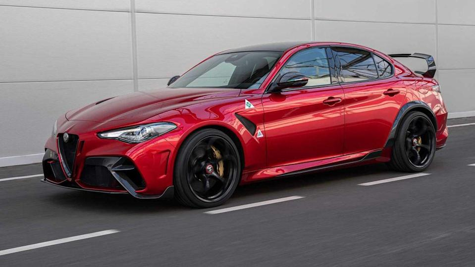 <p>Alfa Romeo's spectacular Giulia Quadrifoglio was many people's car of the year in 2017; a stylish and sassy saloon with a distinctly crazy side that saw it go from 0-62mph in 3.9 seconds and keep on going to 190 mph. Well, that car just got crazier with a special GTA version (that's Grand Turismo Alleggerita, or lighter grand tourer, not Grand Theft Auto) which strips 100kg from its stablemate and tweaks the existing 2.9 litre V6 engine to produce 533hp, so becoming the most powerful Alfa ever built when it arrives in the summer. Alfa's F1 drivers Kimi Raikkonen and Antonio Giovinazzi have been involved in fine-tuning it. Unsurprisingly only 500 will be made, costing a cool £150,000 apiece.</p>