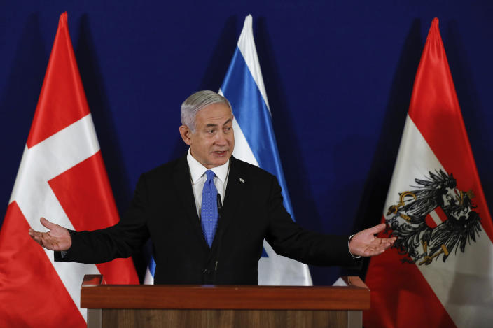 Israeli Prime Minister Benjamin Netanyahu speaks during a joint statement with the Danish Prime Minister Mette Frederiksen and Austrian Chancellor Sebastian Kurz at the Israeli Prime minister office in Jerusalem on Thursday, March 4, 2021. (Olivier Fitoussi/Pool Photo via AP)