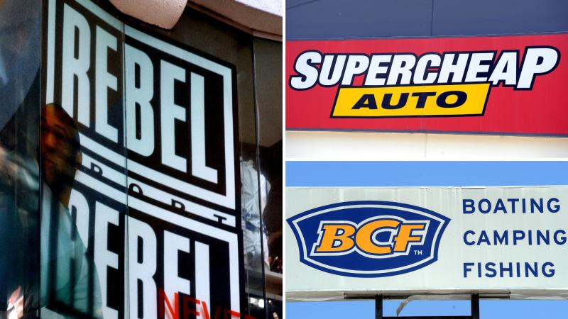 Signs for Super Retail Group brands Rebel Sport, Supercheap Auto and BCF.