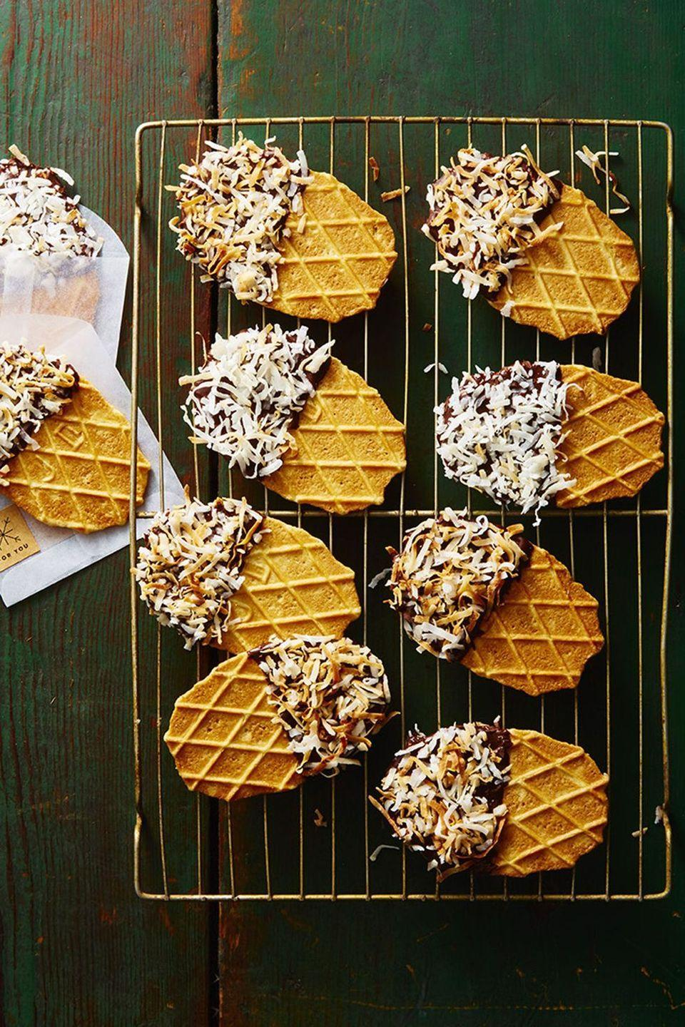 "<p>The recipe for an easy, no-bake Christmas treat: Three ingredients, five minutes and zero frustration.</p><p><em><a href=""https://www.goodhousekeeping.com/food-recipes/dessert/a46922/no-bake-waffle-dippers-recipe/"" rel=""nofollow noopener"" target=""_blank"" data-ylk=""slk:Get the recipe for No-Bake Waffle Dippers »"" class=""link rapid-noclick-resp"">Get the recipe for No-Bake Waffle Dippers »</a></em></p><p><strong>RELATED: </strong><a href=""https://www.goodhousekeeping.com/food-recipes/dessert/g838/no-bake-desserts/"" rel=""nofollow noopener"" target=""_blank"" data-ylk=""slk:16 Ridiculously Easy No-Bake Desserts to Try ASAP"" class=""link rapid-noclick-resp"">16 Ridiculously Easy No-Bake Desserts to Try ASAP</a><br></p>"