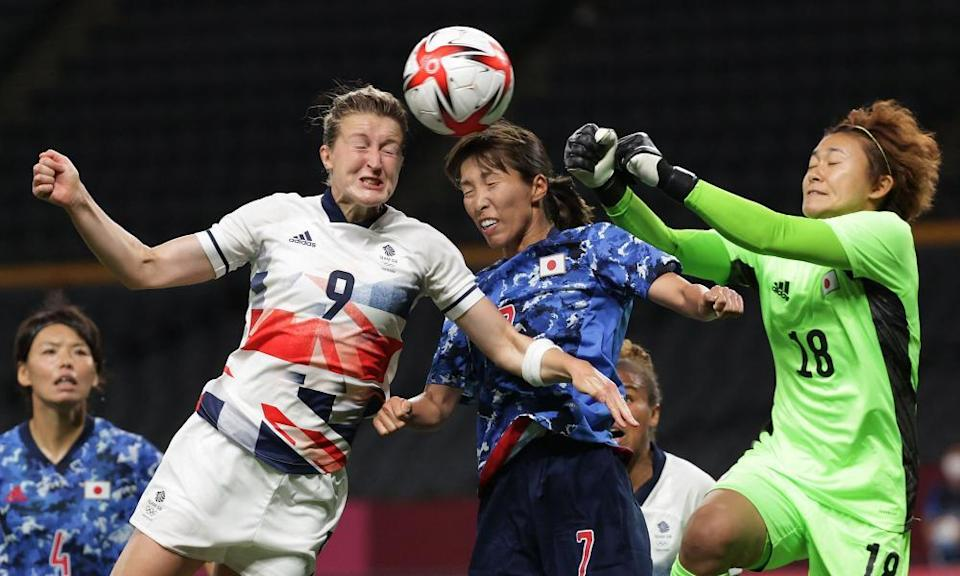 Ellen White gets her head to the ball first to score Team GB's winner in Sapporo.