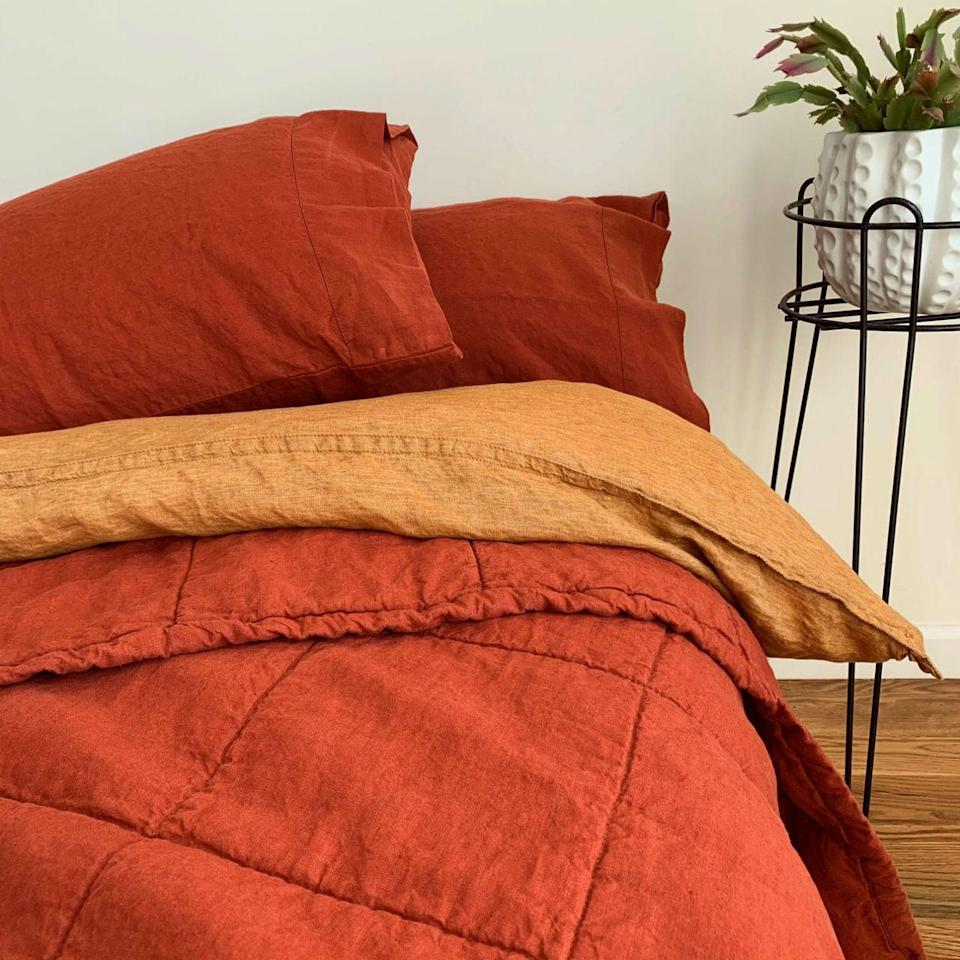 <p>You'll have a hard time getting out of bed with this <span>Linen Duvet Cover</span> ($229-$385).</p>