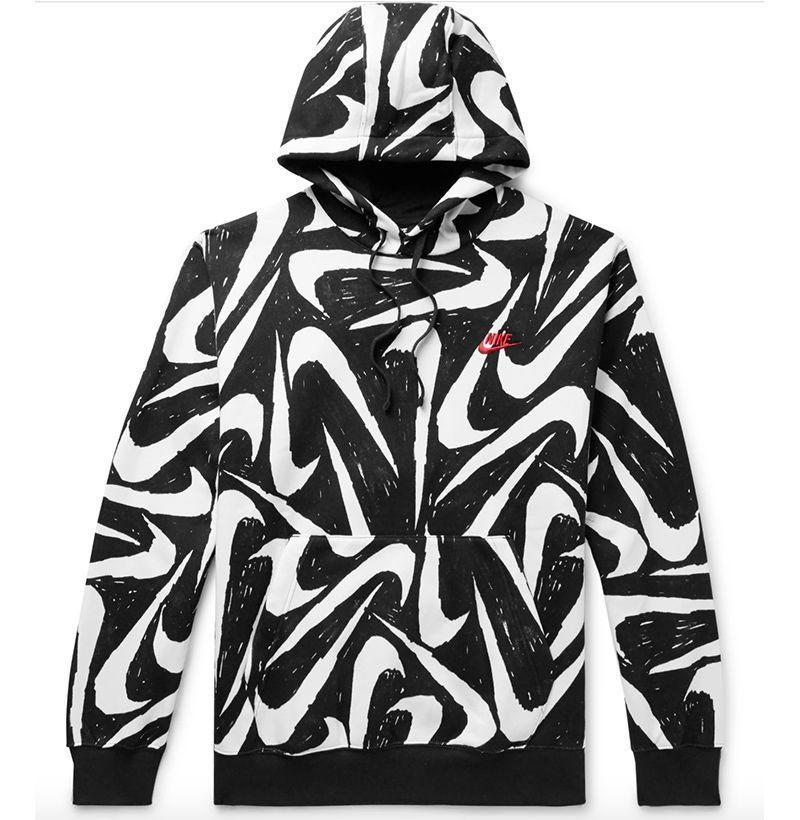 """<p><strong>Nike</strong></p><p>mrporter.com</p><p><strong>$36.00</strong></p><p><a href=""""https://go.redirectingat.com?id=74968X1596630&url=https%3A%2F%2Fwww.mrporter.com%2Fen-us%2Fmens%2Fproduct%2Fnike%2Fclothing%2Fhoodies%2Fsportswear-club-printed-fleece-back-cotton-blend-jersey-hoodie%2F11813139151504609&sref=https%3A%2F%2Fwww.esquire.com%2Fstyle%2Fmens-fashion%2Fg33032327%2Fcheap-july-4-sales-mens-fashion%2F"""" rel=""""nofollow noopener"""" target=""""_blank"""" data-ylk=""""slk:Buy"""" class=""""link rapid-noclick-resp"""">Buy</a></p><p>A design that looks like it came straight from the artist's sketchpad, in the best way possible. </p>"""