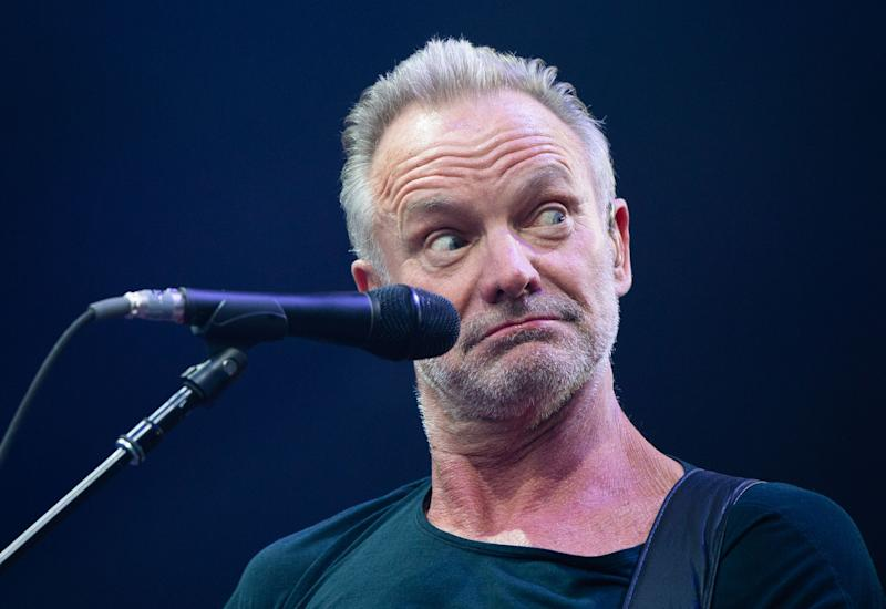 TOPSHOT - English musician Sting performs on stage in Hanover, western Germany on June 6, 2109. (Photo by Christophe Gateau / dpa / AFP) / Germany OUT (Photo credit should read CHRISTOPHE GATEAU/AFP/Getty Images)