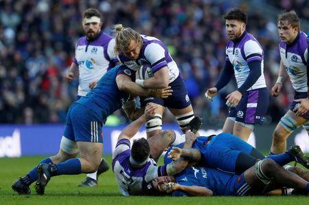 Rugby Union - Six Nations Championship - Scotland vs France - BT Murrayfield, Edinburgh, Britain - February 11, 2018 Scotland's David Denton in action REUTERS/Russell Cheyne