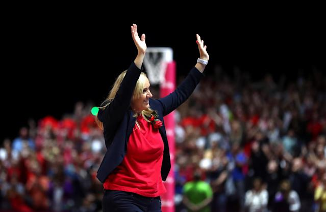 England Head Coach Tracey Neville celebrates to the crowd after winning the Bronze Medal match. (Photo by Chloe Knott - Danehouse/Getty Images)