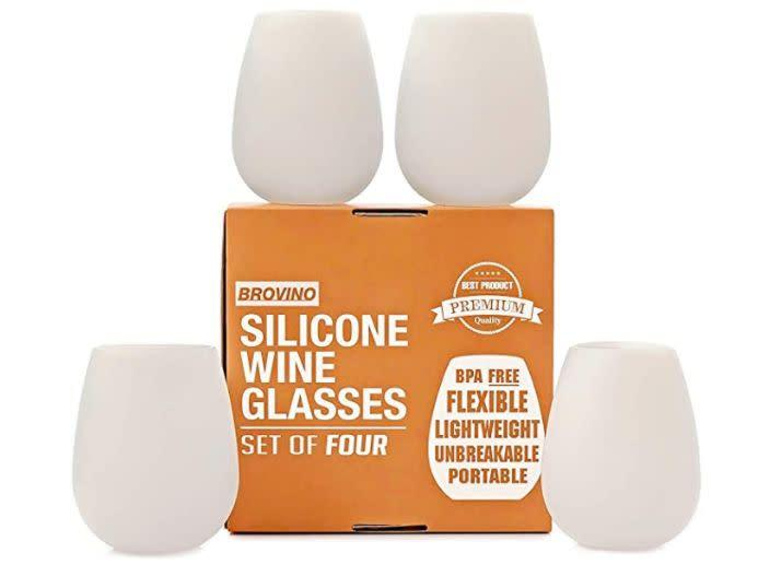 "We found these Silicone Wine Glasses for $19 at <a href=""https://amzn.to/2ZvnYci"" rel=""nofollow noopener"" target=""_blank"" data-ylk=""slk:Amazon"" class=""link rapid-noclick-resp"">Amazon</a>."