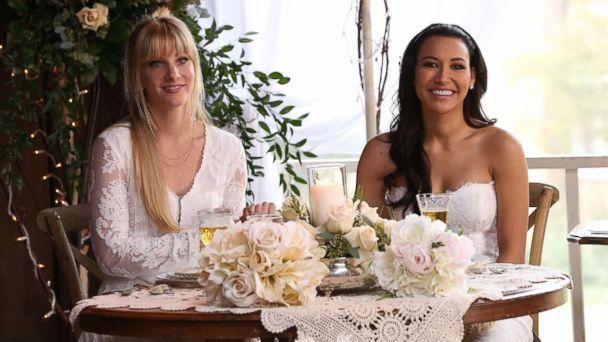 PHOTO: Santana (Naya Rivera, R) and Brittany (Heather Morris, L) tie the knot in the 'Wedding' episode of 'Glee.' (FOX via Getty Images)