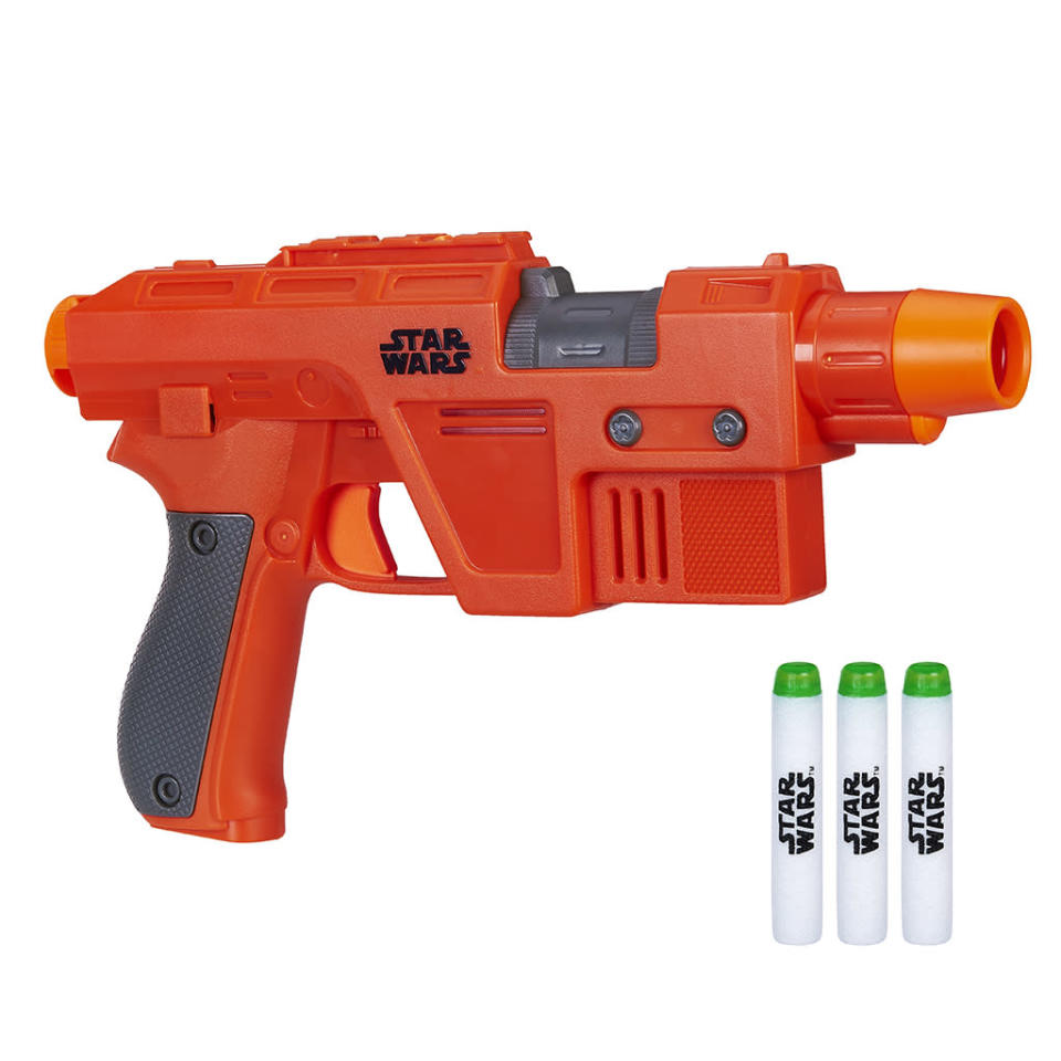 """<p>""""The First Order is no match for the strong-willed Resistance forces with the Nerf Glowstrike Poe Dameron Blaster! Featuring Glowstrike technology light effects and glow-in-the-dark darts, missions can continue from day into night. This front-load, single-shot blaster will send Stormtroopers running!"""" $24.99 (Photo: Hasbro) </p>"""