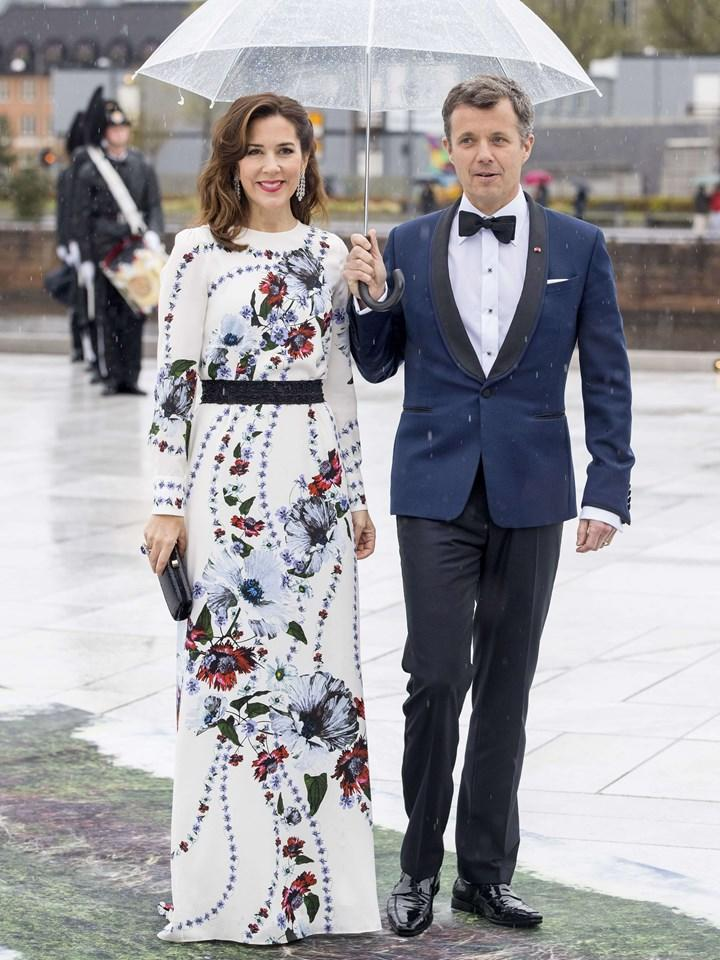 Princess Mary wearing Erdem on a night out with husband Prince Frederik.