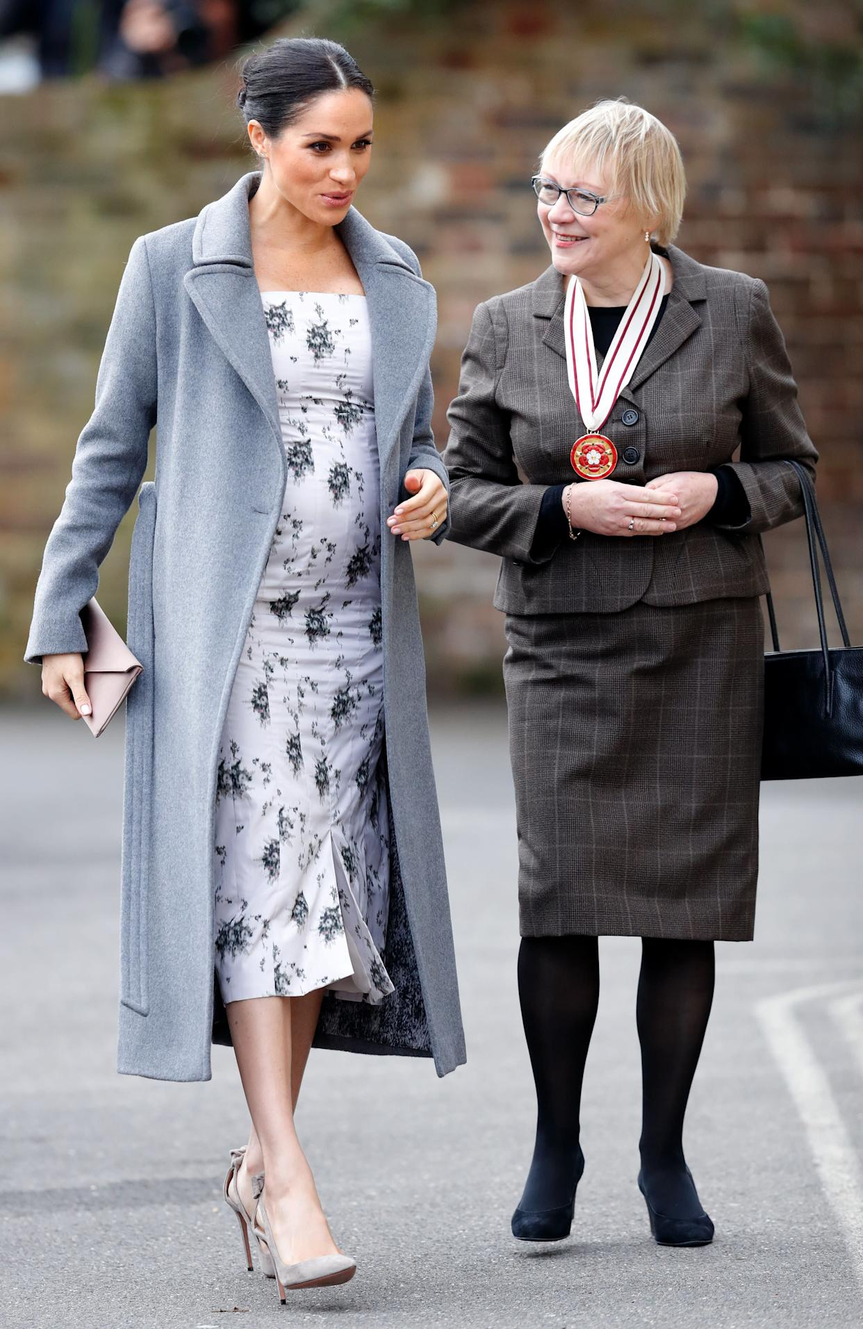The Duchess of Sussex visits the Royal Variety Charity's Brinsworth House in Twickenham, England.